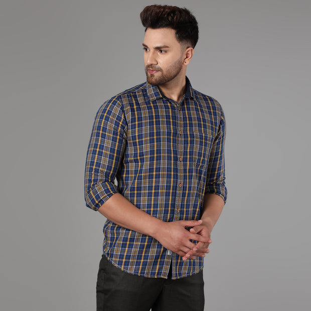 Callino London Men's Blue & Yellow Checkered Casual Cotton Shirt