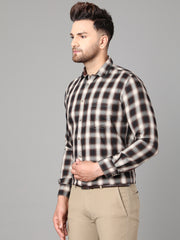 Callino London Men's Brown & White Checked Casual Cotton Shirt
