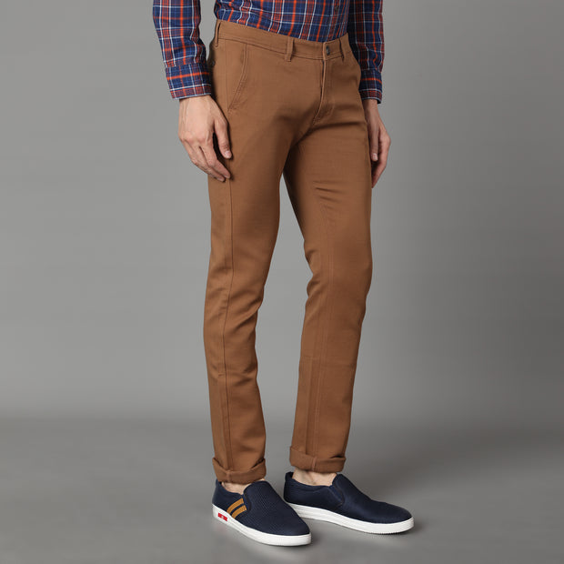 Callino London Men's Tan Textured Casual Trouser