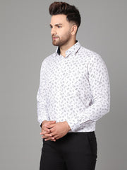 Callino London Men's White Printed Formal Giza Cotton Shirt