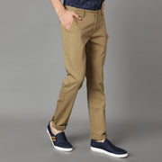 Callino London Men's Khaki Textured Casual Trouser