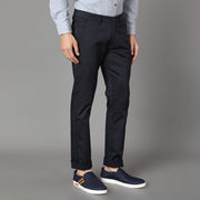 Callino London Men's Blue Textured Casual Trouser