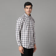 Callino London Men's Ivory Checked Formal Giza Cotton Shirt
