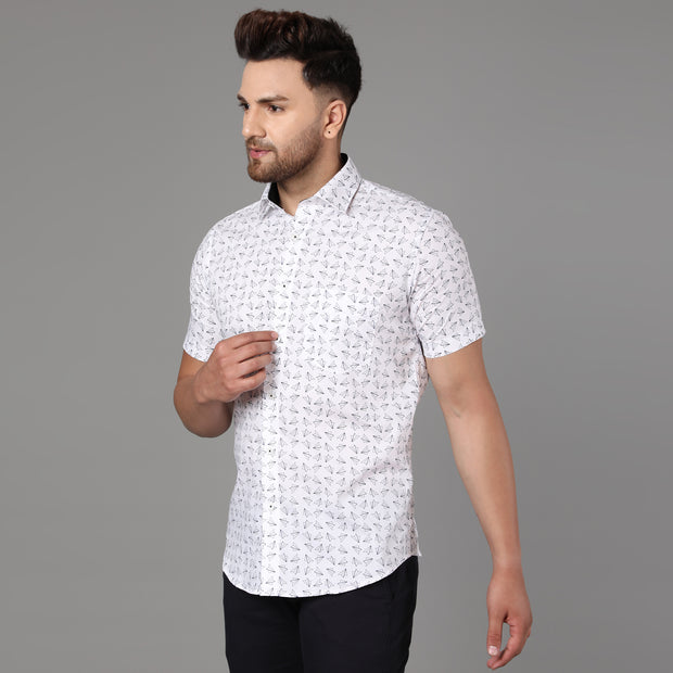 Callino London Men's White & Black Printed Formal Giza Cotton Shirt