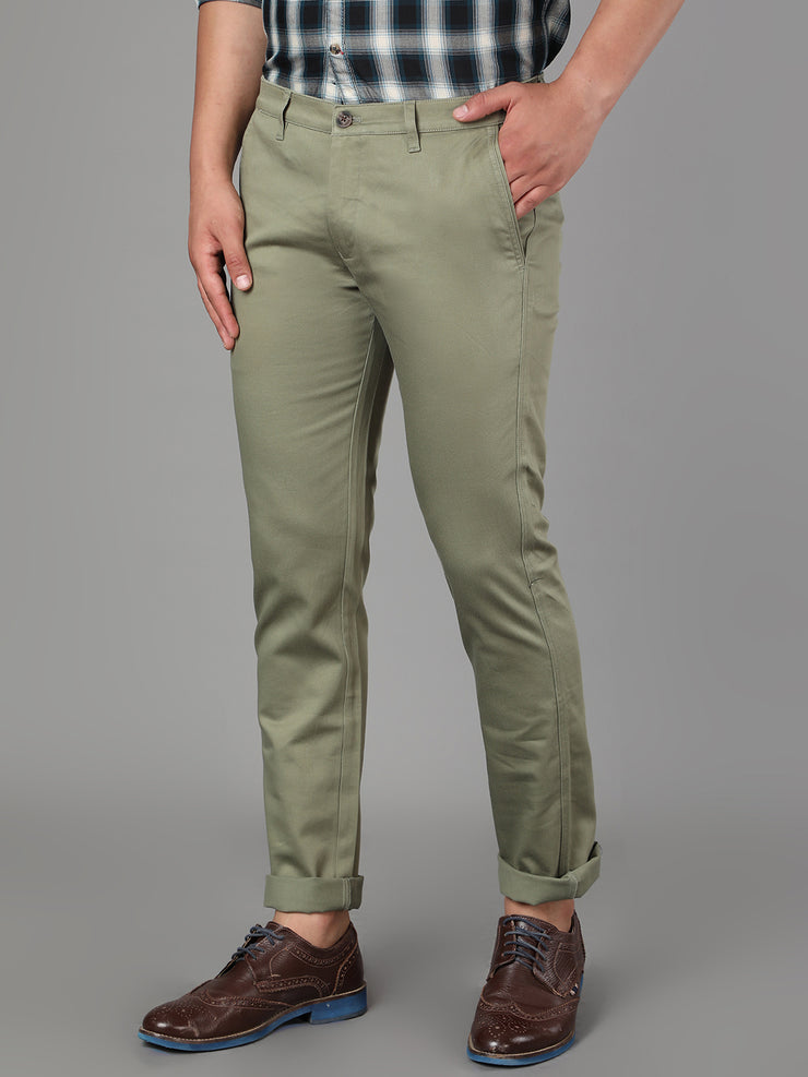 Callino London Men's Leaf Green Textured Slim Fit Casual Trouser