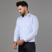 Callino London Men's Blue Printed Formal Giza Cotton Shirt