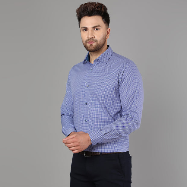 Callino London Men's Blue Slim Fit Checkered Casual Cotton Shirt