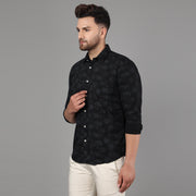 Callino London Men's Black & Grey Casual Cotton Shirt