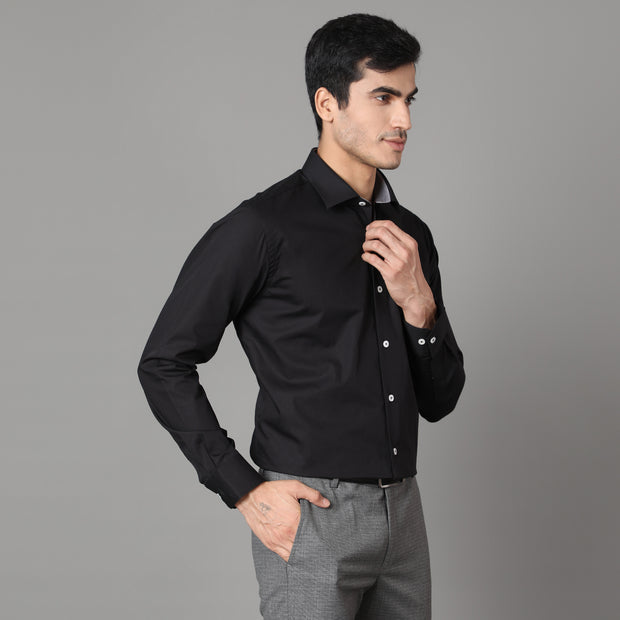 Callino London Men's Black Plain Formal Giza Cotton Shirt