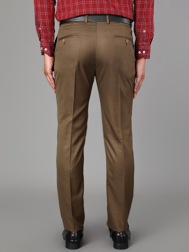 Callino London Men's Brown Plain Formal Trouser