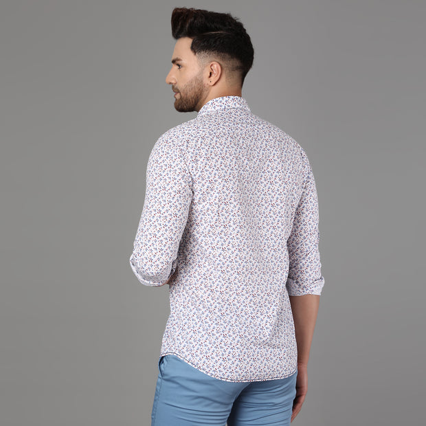 Callino London Men's White Printed Casual Cotton Shirt
