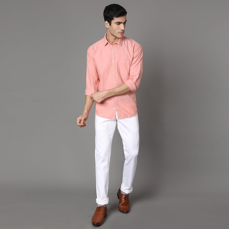 Callino London Men's Orange Plain Slim Fit Casual Cotton Shirt