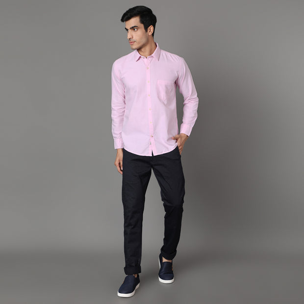 Callino London Men's Pink Plain Casual Cotton Shirt