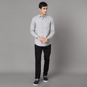 Callino London Men's Black and Grey Casual Cotton Shirt