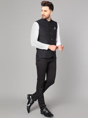 Callino London Men's Black Plain Formal Waist Coat