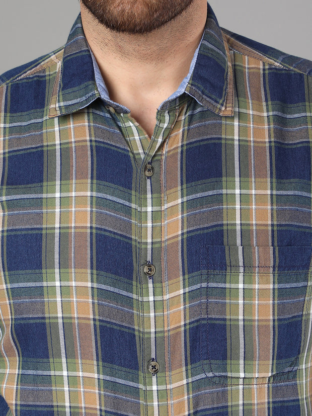 Callino London Men's Blue & Green Checked Casual Cotton Shirt