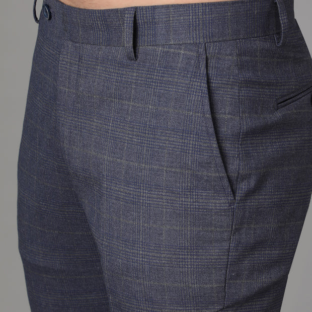 Callino London Men's Blue Checkered Formal Trouser
