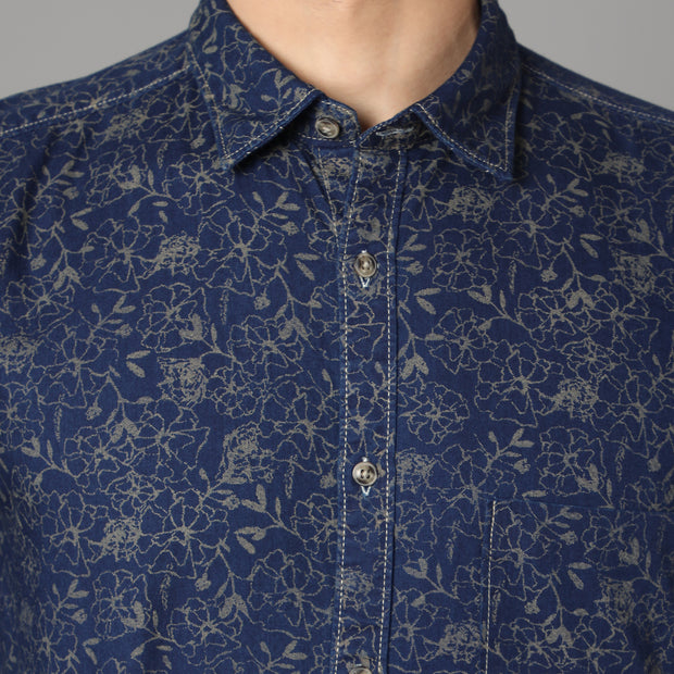 Callino London Men's Blue Printed Casual Cotton Shirt