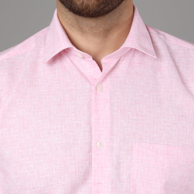 Callino London Men's Pink Plain Formal Cotton Shirt