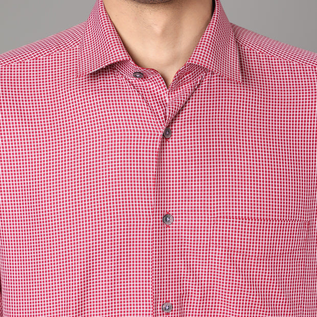 Callino London Men's Red Slim Fit Checkered Casual Cotton Shirt