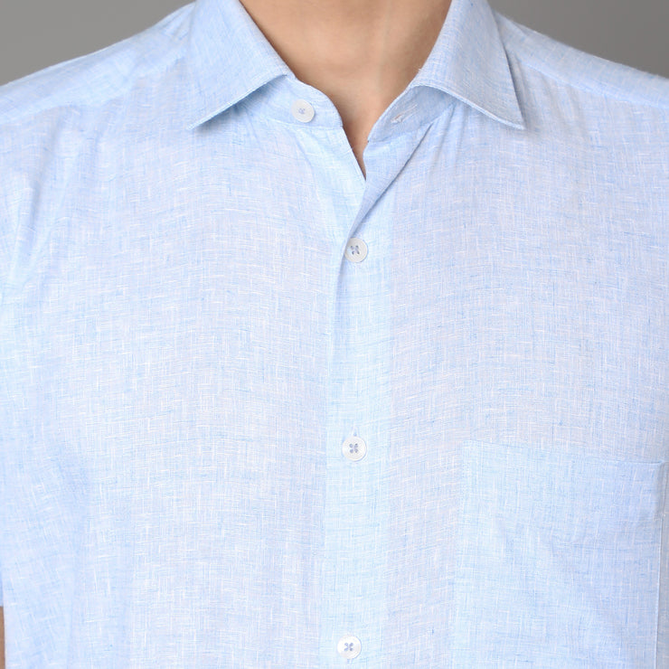 Callino London Men's Blue Plain Formal Cotton Shirt