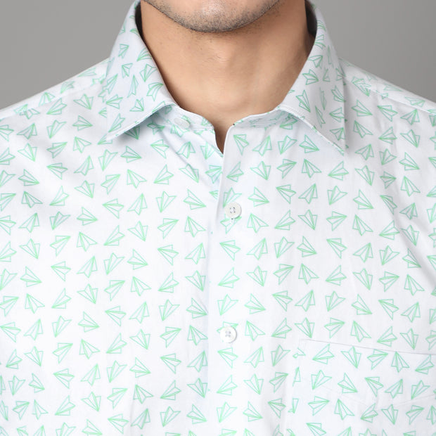 Callino London Men's White & Green Printed Formal Giza Cotton Shirt