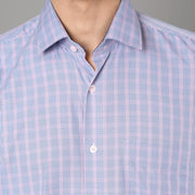 Callino London Men's Blue & Pink Checkered Formal Giza Cotton Shirt