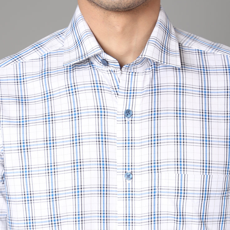 Callino London Men's Blue & White Checkered Formal Giza Cotton Shirt