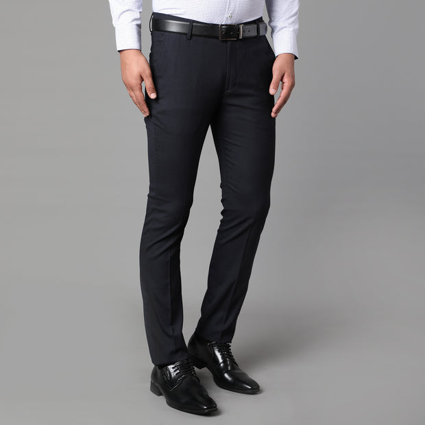 Callino London Men's Navy Blue Textured Formal Trouser