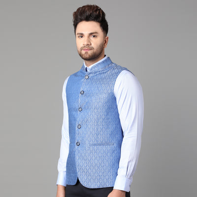 Callino London Men's Blue Printed Partywear Waist Coat
