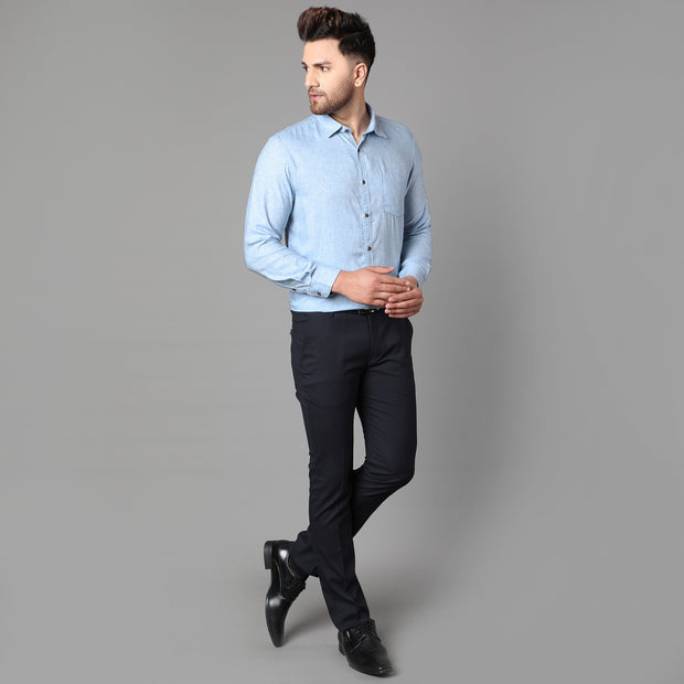 Callino London Men's Blue Plain Casual Cotton Shirt