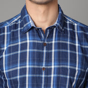 Callino London Men's Blue & White Checkered Casual Cotton Shirt