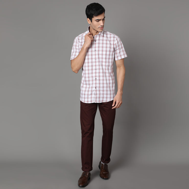 Callino London Men's Red & White Checked Formal Giza Cotton Shirt