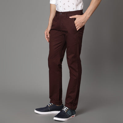 Callino London Men's Rust Textured Casual Trouser