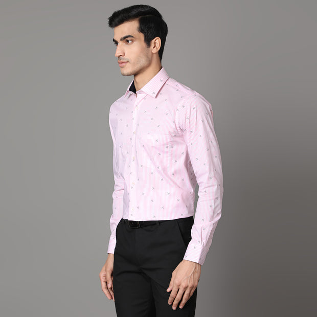 Callino London Men's Pink Printed Formal Giza Cotton Shirt