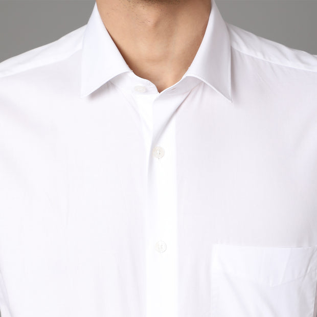 Callino London Men's White Plain Formal Giza Cotton Shirt