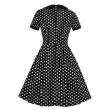 (photo du dos) Robe Pin up Noir a Pois Blanc