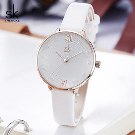 Shengke SK Female Pearl Dial Quartz Women Watch White Leather Ladies Watch Reloj Mujer Women Day Gift Watches Zegarek Damski SK1