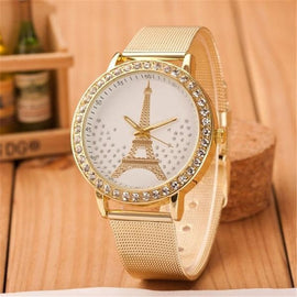 Women Ladies Crystal Tower Gold Stainless Steel Mesh Band Wrist Watch Female Elegant Eiffel Tower Pattern Quartz Wristwatch