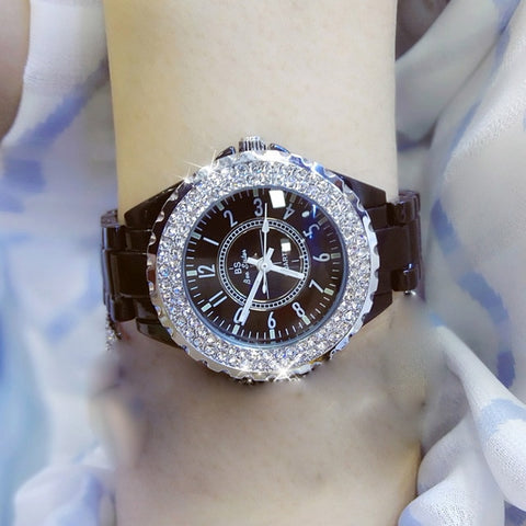 2018 top brand luxury wrist watch for women white ceramic band ladies watch quartz fashion women watches rhinestones black BS