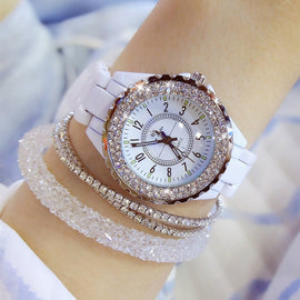 2019 Luxury Crystal Wristwatches Women White Ceramic Ladies Watch Quartz Fashion Women Watches Ladies Wrist watches for Female