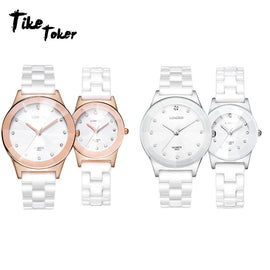 TIke Toker,Luxury White Ceramic Water Resistant Classic Easy Read Sports Women Wrist Watch Quality Lady Rhinestone watch 08