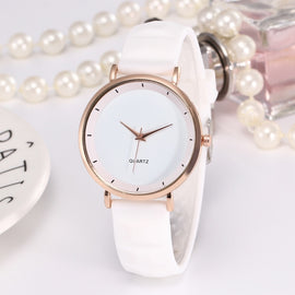 New Simple Women Watch Fashion Elegant Rose Gold Ladies Watch Women Casual Silicone Band Women's Watches Reloj Mujer White Clock