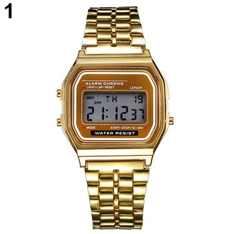 Fashion Men Women LED Digital Watch Clock Gold Silver Vintage Full Stainless Steel Sport Military Wristwatches Relogio Masculino