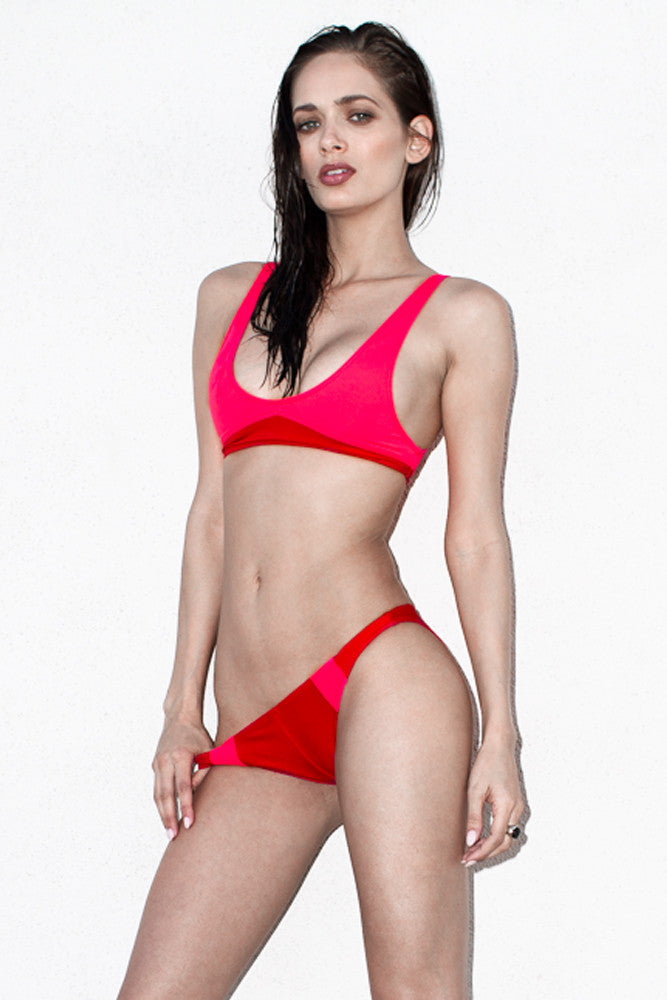 Red and Coral Cropped Tank bikini, fully lined featuring color panels