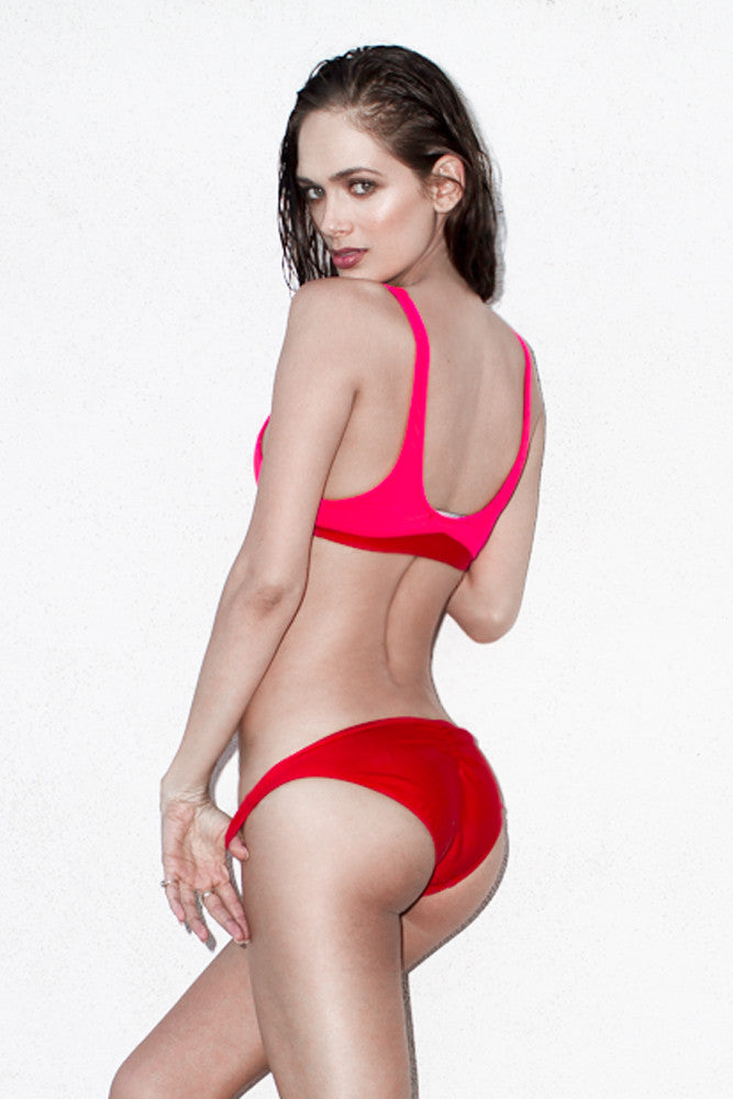 Back view Red and Coral Cropped Tank bikini, fully lined featuring color panels