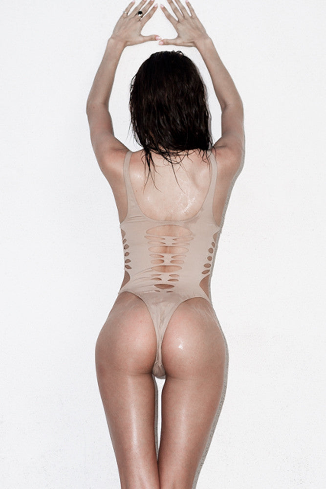 Back View Sexy NUDE one piece with decorative pattern cut out - ELLE