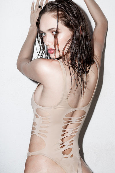 The Elle  Sexy Cut Out One - Piece NUDE