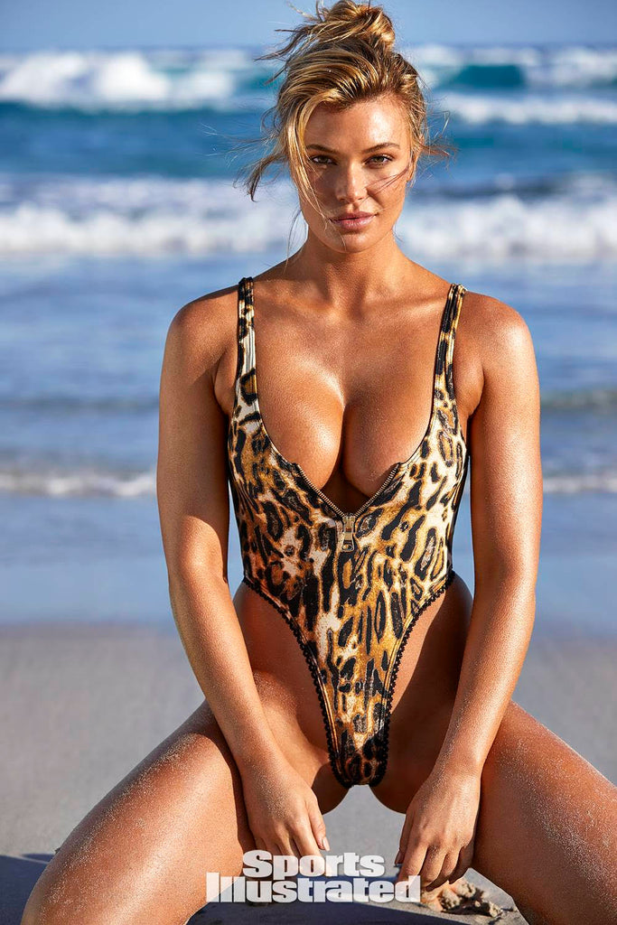 Leopard Print One Piece Swimsuit with Zipper and thong back as seen on Samantha Hoopes in SI Swimsuit