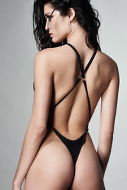 Black crisscross strap one piece swimsuit - Back View